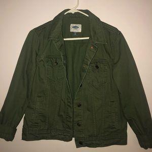 green jean jacket